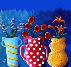 3 Fun Vases of Flowers - by Renie Britenbucher