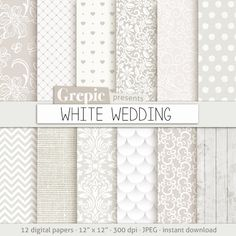 Wedding digital paper WHITE WEDDING with romantic white by Grepic, $4.80