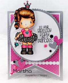 New Swiss Pixie Birthday Princess Clear Stamp, from CC Designs Card by Martha Tucker