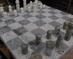 Chess Game: Marble and soapstone Handcarved by Bulles de Granite 480 euros