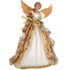 16 Inch Angel Tree Top With Gold Wings from Bronner's Christmas store of Christmas ornaments and Christmas lights Types Of Christmas Trees, Ghost Of Christmas Past, Angel Christmas Tree Topper, Christmas Images, Christmas Angels, Christmas Art, Christmas Tree Decorations, Christmas Ornaments, Holiday Decor