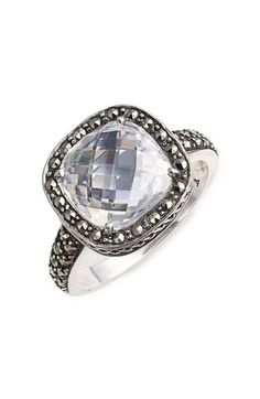 Judith Jack, sterling and CZ cocktail ring.