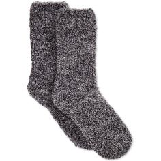 Charter Club Women's Butter Super Soft Marled Solid Socks ($7.50) ❤ liked on Polyvore featuring intimates, hosiery, socks, accessories, shoes, fillers, black, marled socks, black socks and fuzzy socks