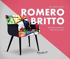 Agora você pode ter as obras do #RomeroBritto na sua casa. Nova linha de sofás, cadeiras, mesas entre outras opções para deixar o seu cantinho ainda mais alegre e divertido.