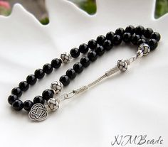 Black Onyx Prayer Beads With Love Knot Tassel OOAK Healing