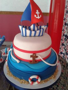 tortas para baby shower de marinero