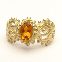 Handmade 14kt Gold Golden Citrine Filigree Ring by JandSGems, $251.88