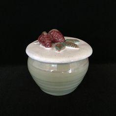 Rowantrees pottery jar studio pottery handmade lidded jam jar pottery red clay vintage ceramic mug strawberry Blue Hill Maine pottery studio