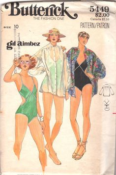 1970s Butterick 5448 Misses V Neck Swimsuit Cut Out Sides Cover Up GIL AIMBEZ Pattern Womens Vintage Sewing Pattern  Size 10 Bust 32 UNCUT