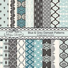 Set of 16 Blue & Grey Damask Patterns. Great for scrapbooking, making cards, invitations, gift, tags, photographers    textile, papers guds etc