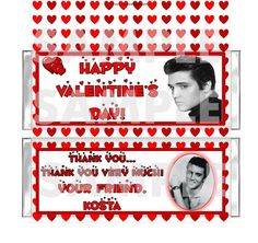 RETRO ELVIS VALENTINES PARTY candy bar wrappers favor PERSONALIZED Free Foils #ValentinesDay #partyfavors