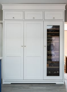 This cabinet presents the optimum in kitchen cool with an integrated fridge, freezer and wine cooler all together. The top of the cabinet has also been put to good use, providing homes for infrequently used items such as Easter and Christmas things. Kitchen Cabinet Makers, Kitchen Dresser, Wine Storage, Kitchen Storage, Tall Cabinet Storage, Tall Fridge, Wine Fridge, Home Nyc, Integrated Fridge
