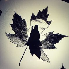 More from the autumn leaf flash. This is with a wolf and a maple leaf. #tattoo #tattoodesign #rabbit #oakleaf #autumn #blackwork #tattooideas #dotwork #mapleleafs #wolf #wolftattoo