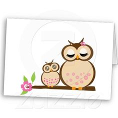 Cute mom and baby owl greeting card