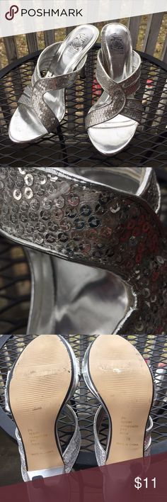 Silver Sequined Heels Beautiful strapped  Heels with silver sequins, worn a handful of times. A few sequins missing on left top strap. Shown in close up picture. Smoke free/pet friendly home. Special Occasions by Saugus Shoe Shoes Heels