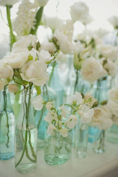 Shades of green and blue glass vases with white flowers for centerpieces or other wedding decor Pretty Flowers, White Flowers, Simple Flowers, White Roses, Red Roses, Orange Flowers, Fresh Flowers, Elegant Flowers, Cut Flowers