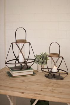 Metal Straps and Glass Lanterns Set/2 - Hudson and Vine. Click to shop home decor and candle ideas to meet your interior decorating style. Perfect for your farmhouse, rustic, or vintage style.