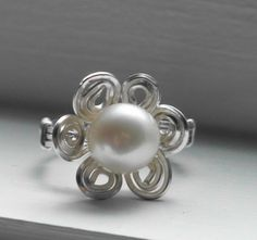 Sterling Silver Swirled Wire and Pearl Flower Ring - Auralee Company
