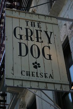 "Signage could use unique or store-specific materials? ""Grey Dog Chelsea"" photographed by Rachel Scroggins Cafe Signage, Shop Signage, Restaurant Signage, Signage Design, Cafe Design, Restaurant Design, Restaurant Exterior, Hotel Signage, House Design"