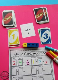 Addition Game for Kids - Planning Playtime Kindergarten Math Game - Addition with game cards. Math Card Games, Fun Math Games, Game Cards, Uno Cards, Dice Games, Addition Games, Math Addition, Addition Activities, Kindergarten Math Games