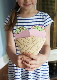 Kindergeburtstag Einladung Eistüte / Ice cream cone birthday invitation by happyhomeblog.de
