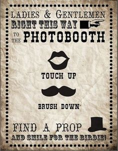 Vintage Carnival Photo Booth Sign Printable - Display this Vintage Photo Booth Printable Sign  to guide your wedding guests along there way to your fun photo booth!