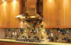 tile backsplash, brown, blue, tan, stainless steel hood #tile #backsplash, #kitchen #CCC