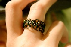 The Moss Ring  Chainmaille Twotone Ring by EotBDesigns on Etsy, $13.00