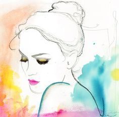 Print from original watercolor and mixed media fashion illustration by Jessica Durrant titled, Hope