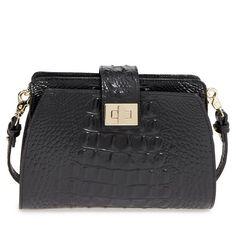 Women's Brahmin 'Alena' Croc Embossed Leather Crossbody Bag ($225) ❤ liked on Polyvore featuring bags, handbags, shoulder bags, black, cross-body handbag, crossbody purses, brahmin purses, brahmin handbags and brahmin