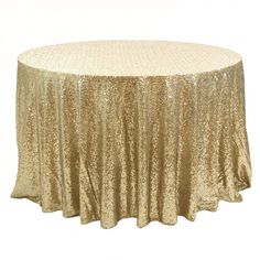 Sequin Champagne Gold Tablecloth Round 108 by DESIGNERSHINDIGS, $155.00