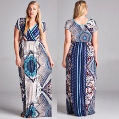 Diamond Maxi Dress Short sleeve faux wrap upper portion. Elastic waist. Maxi length. Wrinkle free fabric consists of 95% polyester, 5% spandex. Fit runs small. Made in U.S.A.. Brand new retail w/o tags. No trades, no holding, no offline/App transactions.   PRICE IS FIRM UNLESS BUNDLED                  5% off bundles  Dresses Maxi