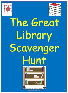 """This free resource uses a """"scavenger hunt"""" activity to help Grades 4 - 8 students better understand how to locate authors, books and topics in the school library. Library Games, Library Skills, Library Activities, Library Lessons, Library Books, Library Ideas, Library Science, Kids Library, Study Skills"""
