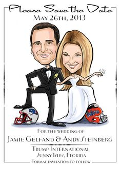 Perfect for a sports lover bride and groom! Caricature portrait save the date with your favorite sports teams. Completely custom drawn from your photos!