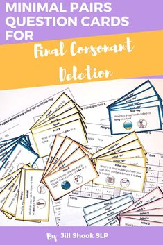 Minimal Pairs Question Cards for Final Consonant Deletion Articulation Therapy, Articulation Activities, Speech Therapy Activities, Phonological Processes, Phonological Awareness, Final Consonant Deletion, Minimal Pair, Play Therapy Techniques