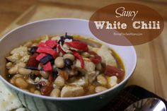 It's been so cold out lately that all we seem to want to eat around here is soup! This Saucy White Chili is one of my husband's absolute FAVORITE meals! It takes just a few ingredients to whip up this yummy dish!! INGREDIENTS 1 tbs. vegetable oil 6 boneless, skinless chicken breasts (diced) 1/4 tsp. …