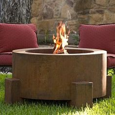 This handcrafted outdoor fire pit is constructed entirely of 11 gauge Cor-Ten steel. Commonly called weathering steel it will develop a beautifully brown layer of rust when exposed to the weather. The weathering rust actually performs as a protective coating providing greater resistance to corrosion compared to other steels. It will take 2-4 months for the steel to fully rust. The fire pit is designed for wood burning or using lava rock or decorative glass. Natural gas or propane gas models…