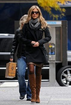 loving the boots scarf jacket #Fall #Fashion