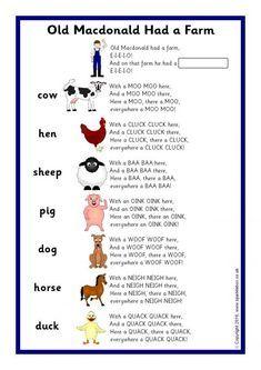 Old Macdonald Had a Farm Song Sheet (SB11437)