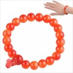 Fashion Red Painted Bead Bracelet Bangle with Elastic String 7mm Diameter