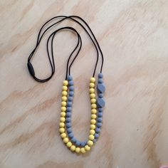 Double+String+Necklace+Grey/Yellow,+$30.00