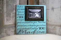 Before you were born, we dreamed of you.....Picture Frame, Personalized Picture Frame, Baby Shower Gift Personalized Name Sign 16x16 , Baptism, First Birthday, Gift Godparents