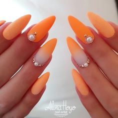 """Beautiful orange nails by Ugly Duckling Benelux Distributor and Family Member 😍Ugly Duckling Nails is dedicated to keeping love, support, and positivity flowing in our industry ❤️ nails """"your success is our reward"""" – Ugly Duckling Nails Inc. Glue On Nails, Diy Nails, Cute Nails, Pretty Nails, Orange Nail Designs, Ombre Nail Designs, Cute Nail Designs, Romantic Nails, Uñas Fashion"""