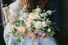 Peach, green + ivory bridal bouquet