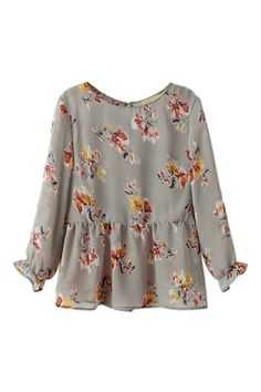 $22.99 ROMWE Floral Print Pleated Loose Blouse