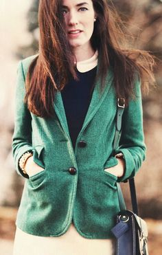 green Blazer, Shirt, Skirt byJ.Crew#officewear