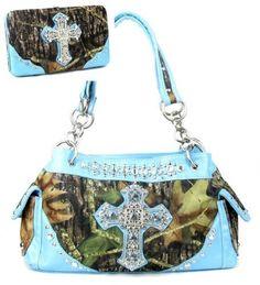 Western Blue Camouflage Cross Rhinestone Handbag W Matching Wallet. Beautiful matching purse and wallet set. Purse Size: 13.5(L) x 8.5(H) x 5(W). Wallet Size: 7.5(L) X 4.5(H) X 1(W). Feel leather. Beautiful Camouflage Print with Rhinestone Accents.