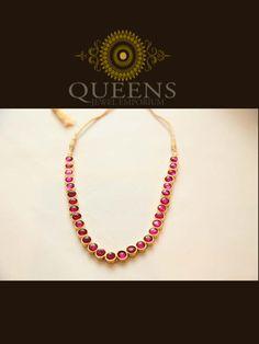 Single-line kemp stone adigai | Queens Jewellery