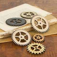 Wooden Clock Parts - Gear 556563 - Vintage Distressed Wooden Pieces With Stamped…