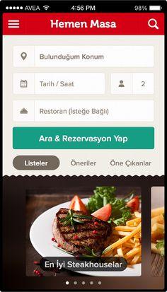 Restaurant reservation - Hemen Masa by Melih Gengönül Mobile Ui Design, Iphone Design, App Ui Design, User Interface Design, Flat Design, Restaurant App, Restaurant Reservations, Mobile App Templates, Recipe Sites